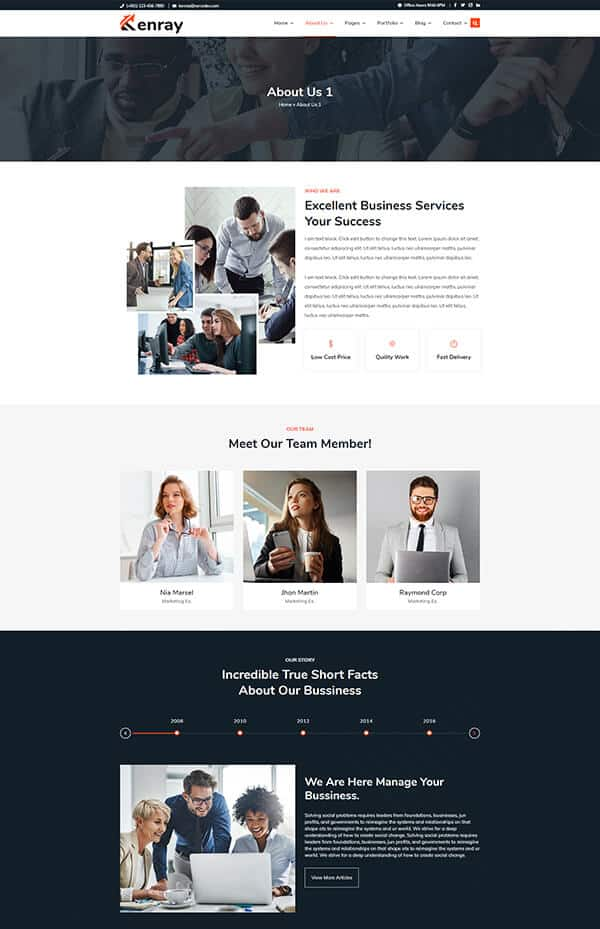 Consulting Business WordPress theme - About us section