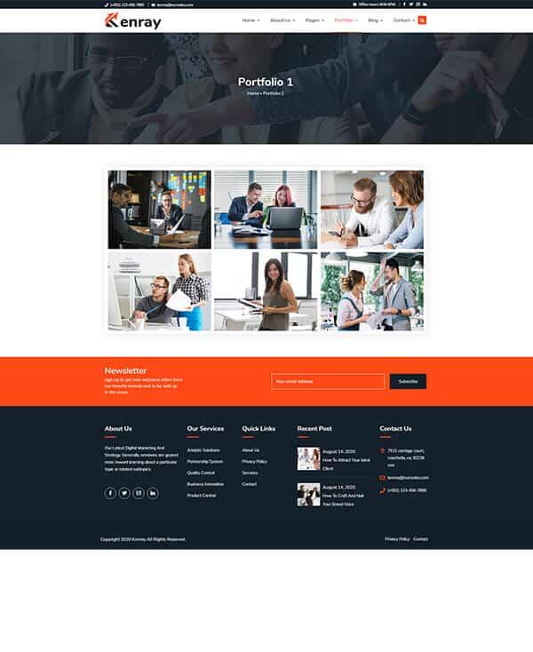 Kenray Consulting Business WordPress theme - Portfolio Style 1
