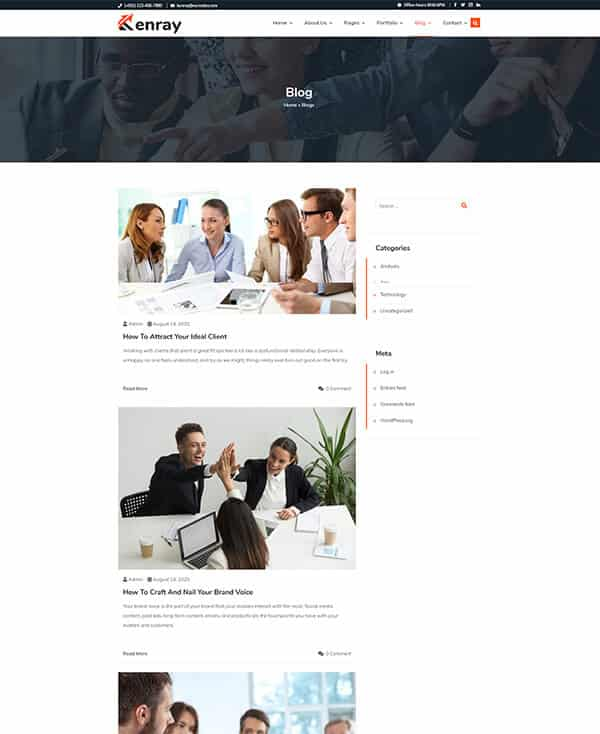 Kenray - Consulting Business WordPress Theme - Single Blog Section