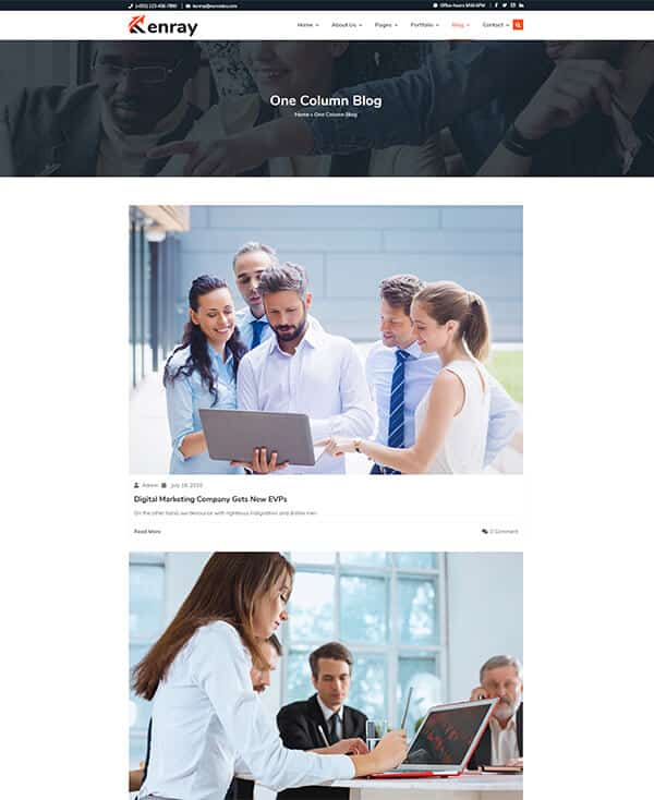 Kenray Consulting Business WordPress theme - One column blog
