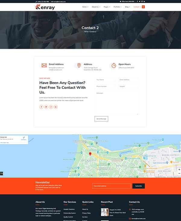 Kenray Consulting Business WordPress theme - Contact Us 2