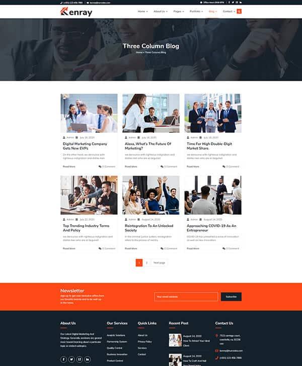 Kenray Consulting Business WordPress theme - Three Column Blog