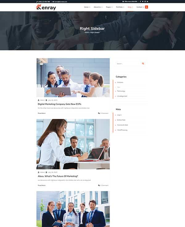 Kenray Consulting Business WordPress theme - Blog With Right Sidebar