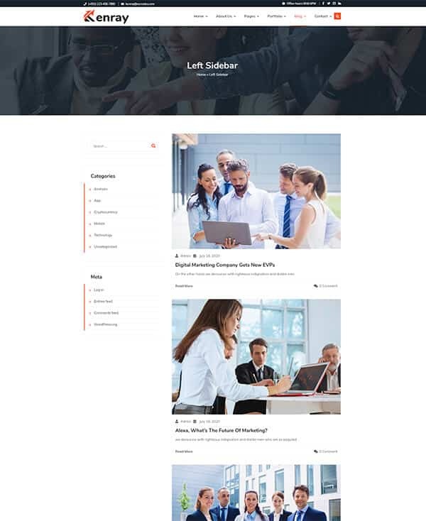 Kenray Consulting Business WordPress theme - Blog with Left Sidebar
