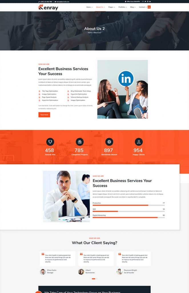 Kenray Consulting Business WordPress theme - About Us 2