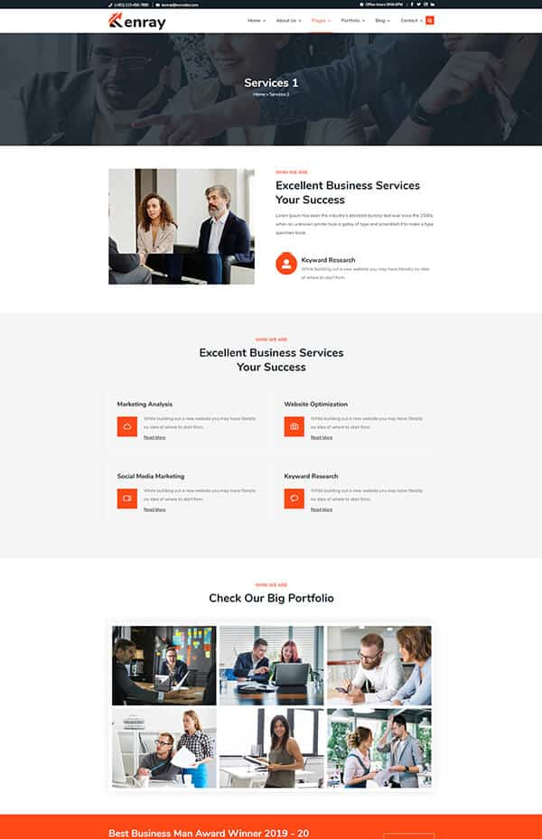 Kenray consulting business WordPress theme - Service 1 Section