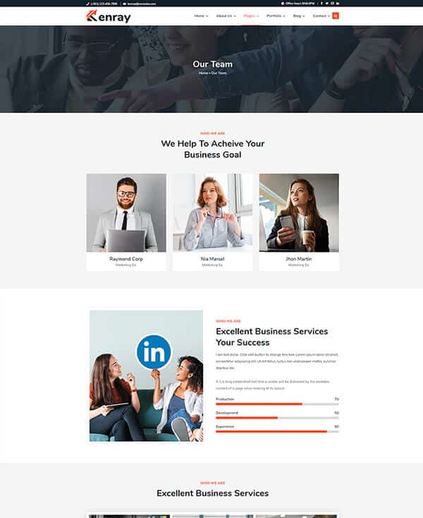 Kenray Consulting Business WordPress theme - Team Section
