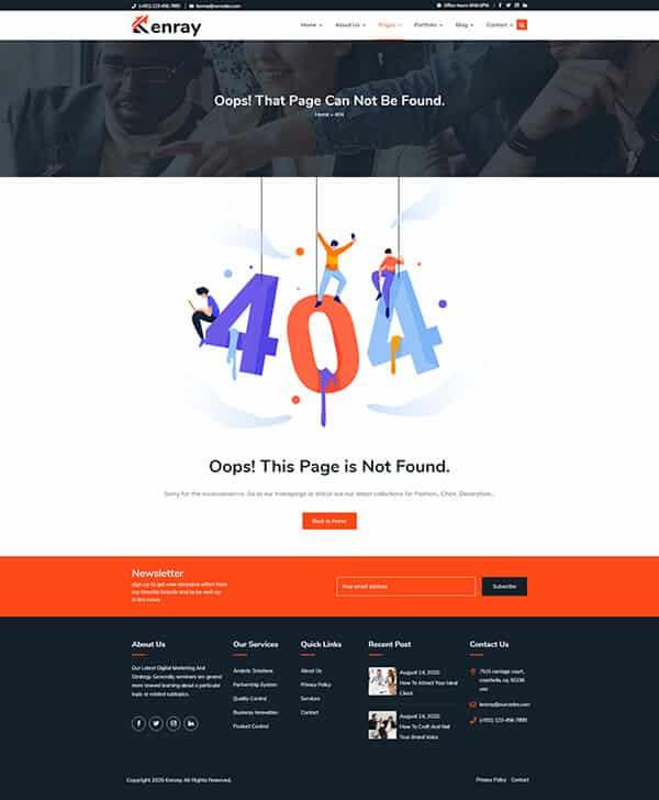 Kenray Consulting Business WordPress theme - 404